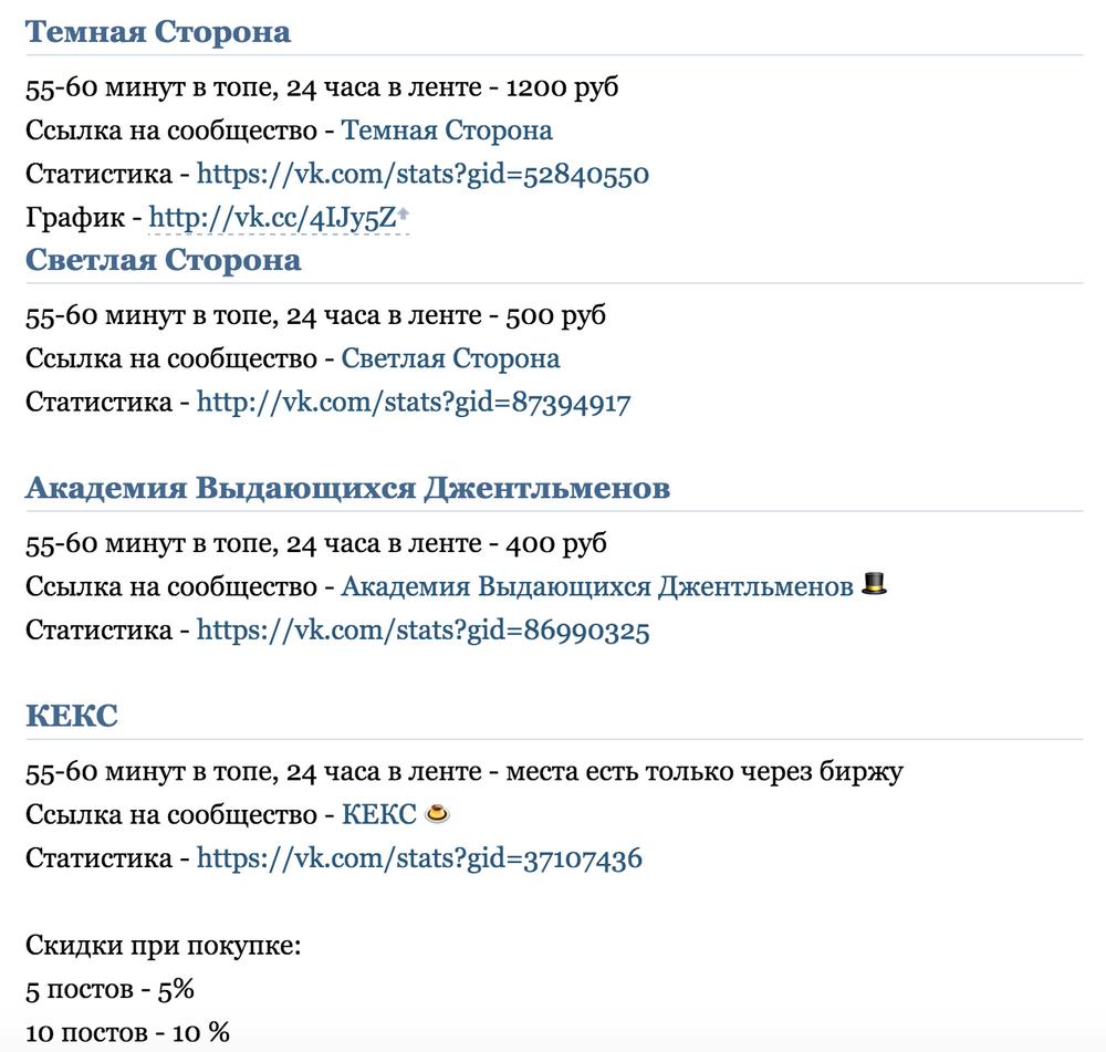 Список групп и пабликов