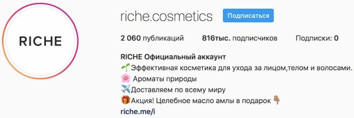 Пример оформления инстаграма Riche