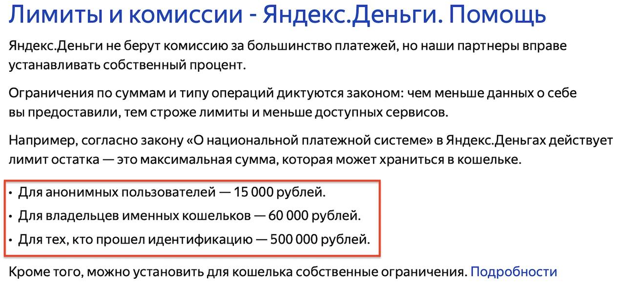 лимиты в Яндекс Деньги