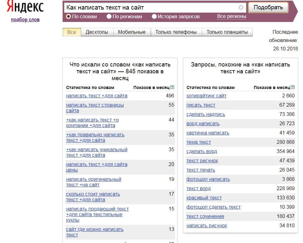 Яндекс вордстат для поиска ключевых слов