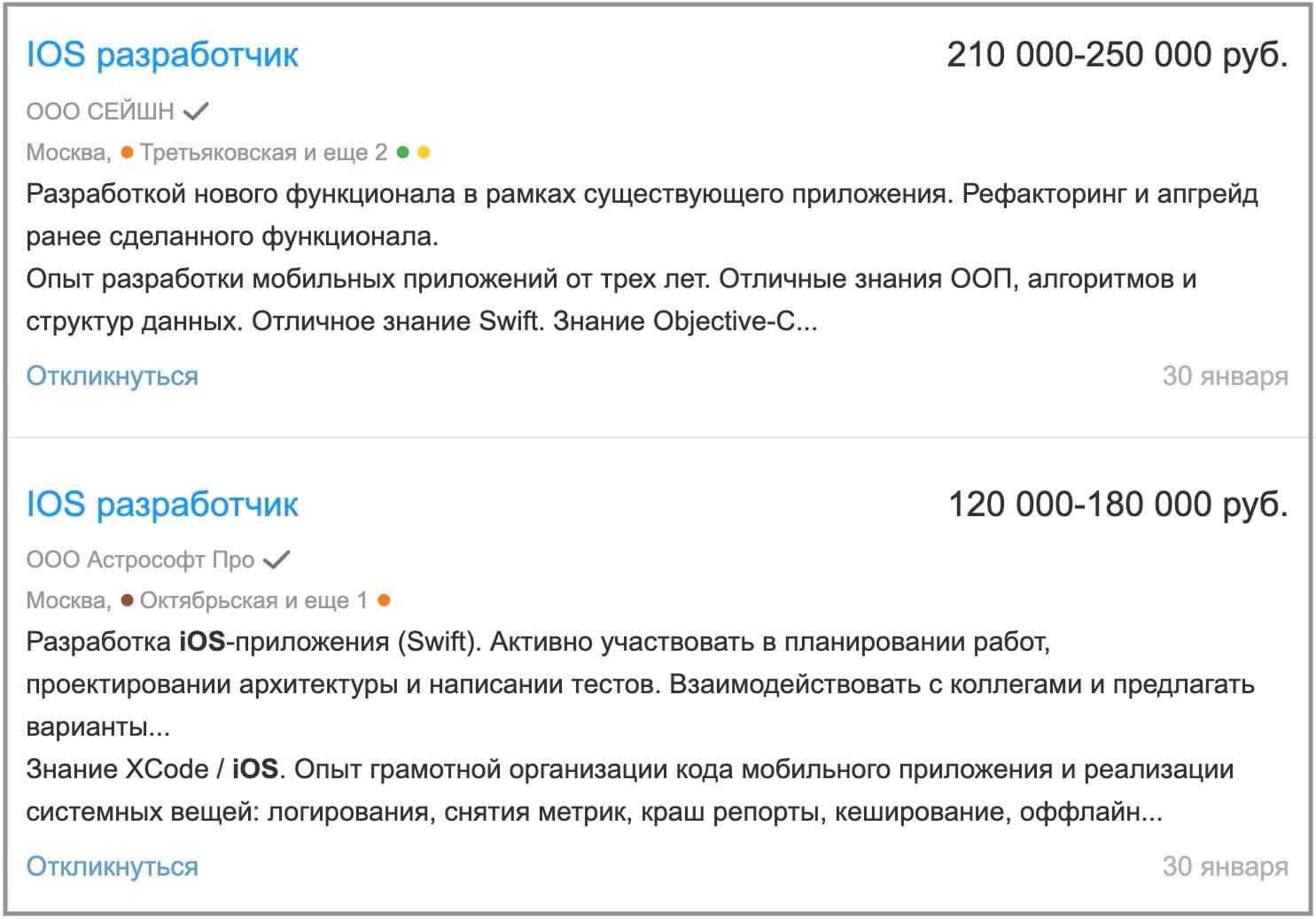 Зарплаты iOS разработчиков